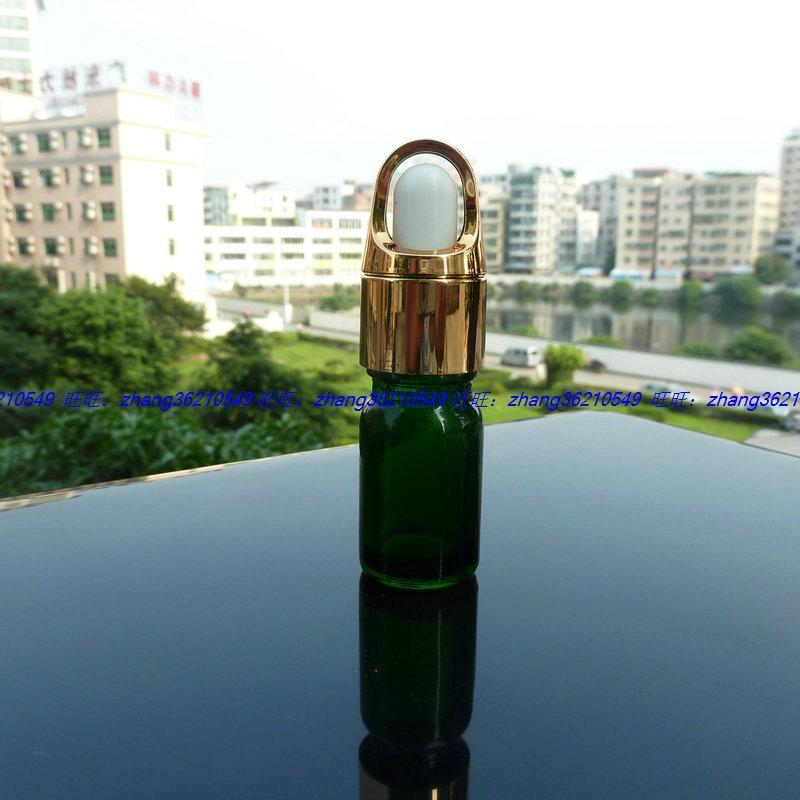 5ml 녹색 유리 에센셜 오일 병 반짝이는 골드 스포이드 캡 알루미늄 바구니. 오일 바이알, 에센셜 오일 용기