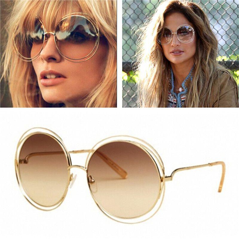 جديد خمر أزياء المرأة العلامة التجارية مصمم كمفينات نظارات أنيقة كبيرة جولة الأسلاك إطار نظارات المتضخم النظارات 12 قطعة / الوحدة