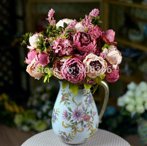 """1 pz (8 teste / mazzo) 47cm / 18.5 """"fiore di peonia artificiale peonie finte con schiuma fiori di ortensia per bouquet da sposa"""