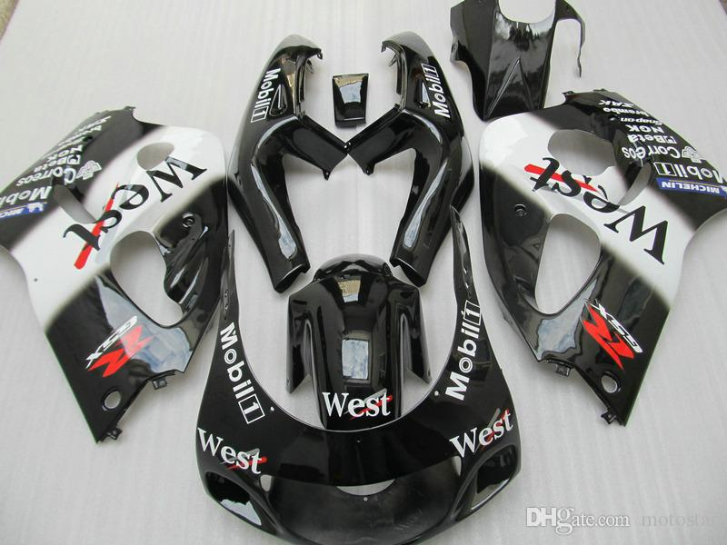 ABS Комплект обтекателя для SUZUKI GSXR600 GSXR750 1996 1997 1998 1999 2000 bodykits GSXR600 / 750 96-00 белых черный Запад пластиковых обтекателей установить GB40