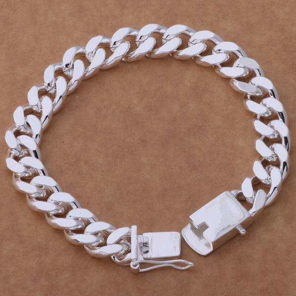 Fashion Men's Jewelry 925 sterling silver plated chain bracelet 10MMX20CM Classic cool party accessories Top quality free shipping
