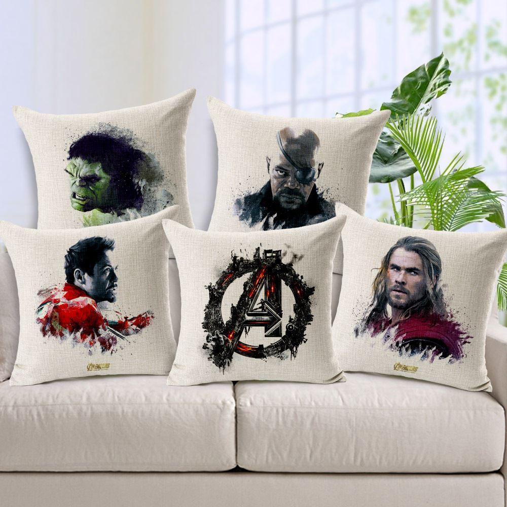Avengers pillow cover, superhero cartoon Hulk Thor iron man Captain America Black widow throw pillow case Wholesale