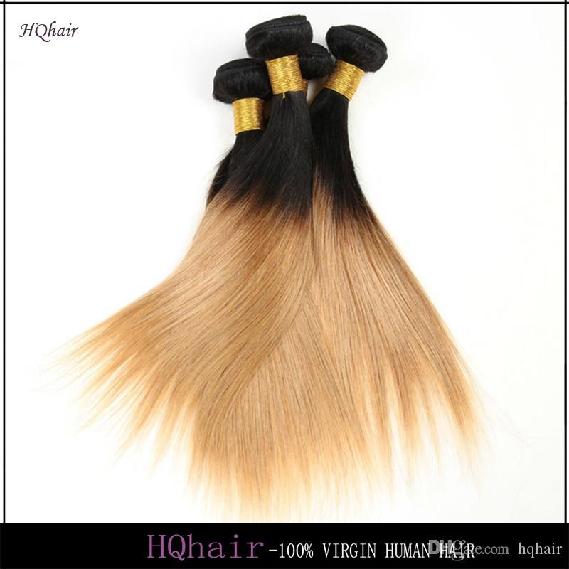1B/27# Virgin Peruvian Human Hair Bundles 3Pcs/Lot Ombre Hair Weaves Silky Straight Remy Hair Weft 6A HQhair