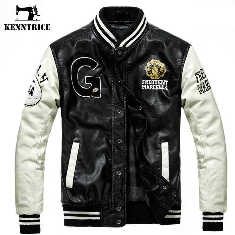 도매 - Kenntrice 야구 가죽 재킷 대학 Jaqueta Couro 남자의 PU 가죽 재킷 거리 자 켓 고품질 가을 겨울 코트