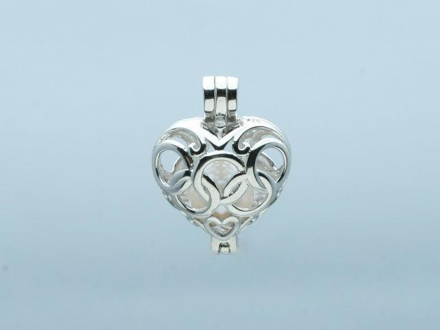 Peach Heart with The Olympic Rings Shape Pearl/ Gem/ Crystal Bead Cage Lockets Pendant Mountings, 18kgp DIY Lovely Cute Jewelry Charms