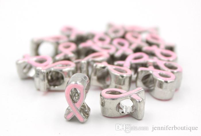 Newest DIY Jewelry Findings Beads Metals Big Hole Beads Eurpean Beads Breast Cancer Awareness Beads Breast Cancer Pink Ribbon Beads