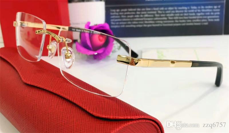 Marco de gafas superventas marco 18k gafas de sol ultraligeras con baño de oro para hombres gafas de estilo de negocios de alta calidad con caja 820097