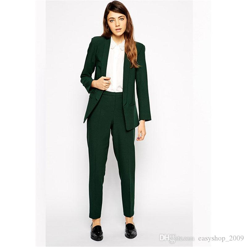 Trajes de pantalón de turquesa para mujer formal para bodas Trajes de negocios de mujer Blazer Set 2 piezas (Abrigo + pantalón) por encargo
