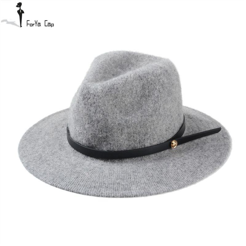 Groothandel-2015 hete herfst en winter wol fedora hoed gratis verzending hoed voor man en vrouwen grote rand maat hoed fijne bandbreedte dakranden