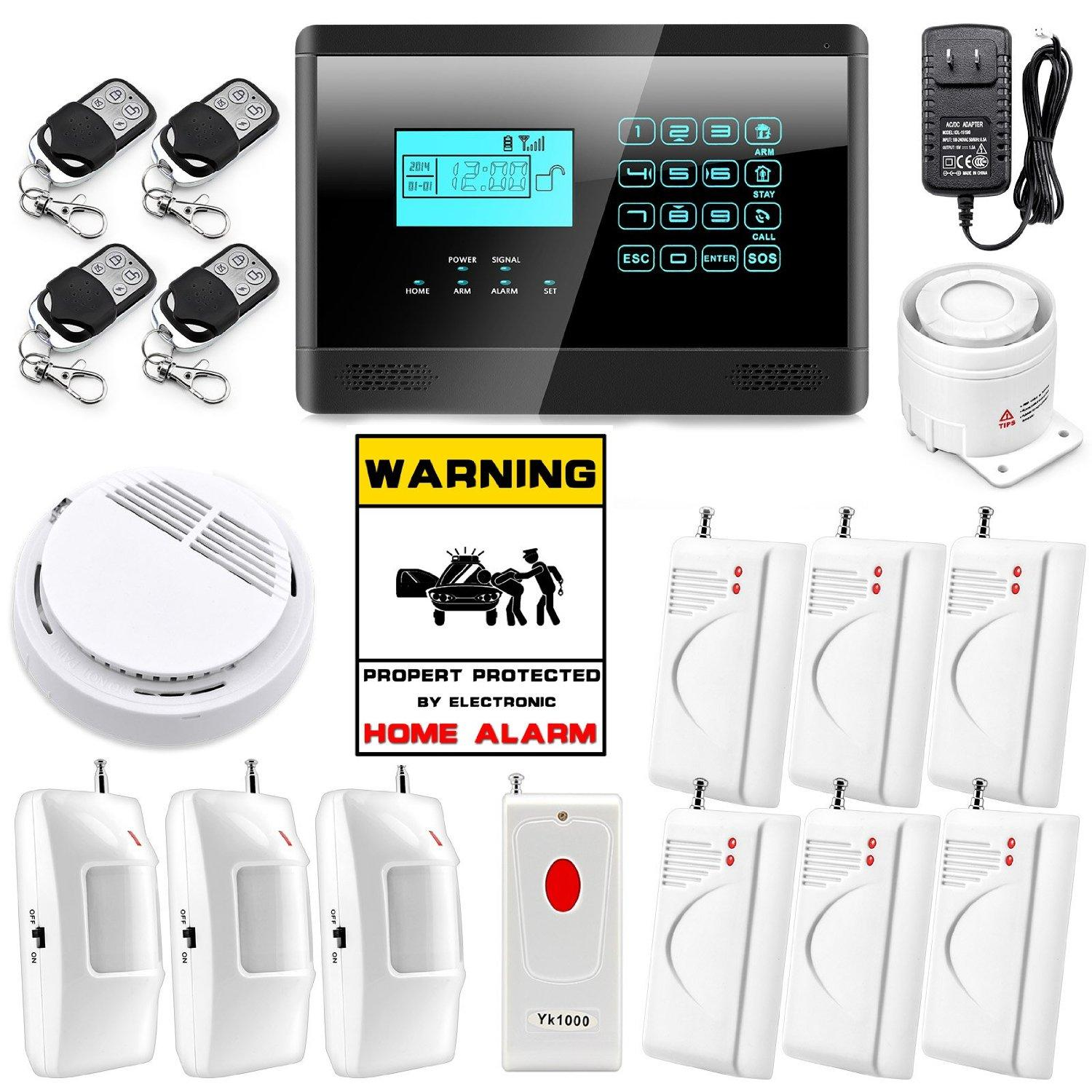 Safearmed TM SF-4099LCD Touch Keypad Wireless GSM SMS Autodial Smart Home House Security Burglar Alarm System Emergency Panic Button Home Se