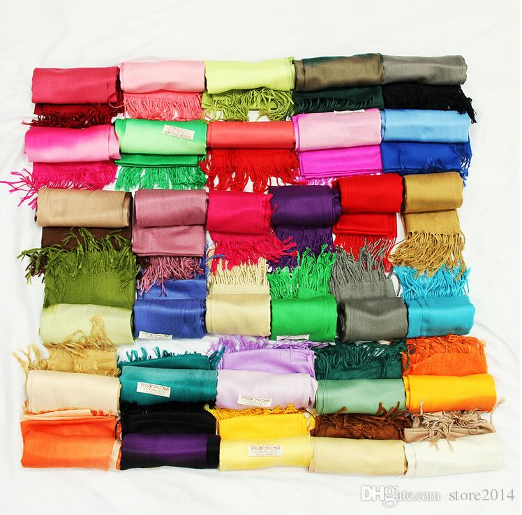 winter New fashion Double color gradient Pashmina Cashmere Solid Shawl Wrap Women's Girls Ladies Scarf Soft Fringes Scarf 22 color