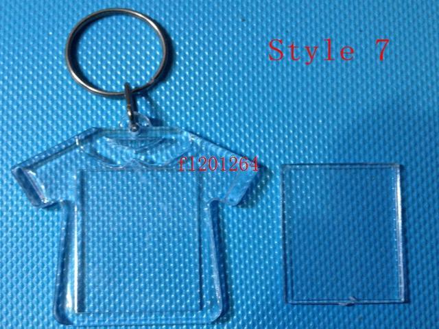 1000pcs / lot liberano i più nuovi portachiavi a forma di chiave di foto in bianco acrilico di DIY nuovi inseriscono i portachiavi di plastica della foto