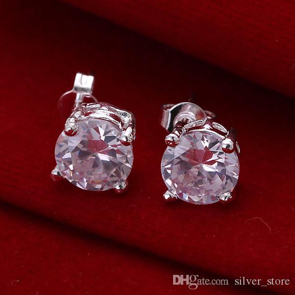 الفضة العلامة التجارية الجديدة الاسترليني مطلي جولة أقراط الماس DFMSE096 نسائية 925 الفضة تتدلى الثريا أقراط 10 زوجا الكثير