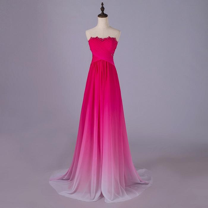 Gradient Ombre Bridesmaid Dresses Evening Wear Sweetheart Illusion ...