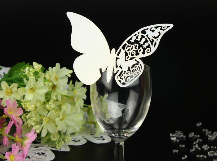 Laser Cut Butterfly Place Card Escort Card Wine Glass Card Wedding Party Decoration