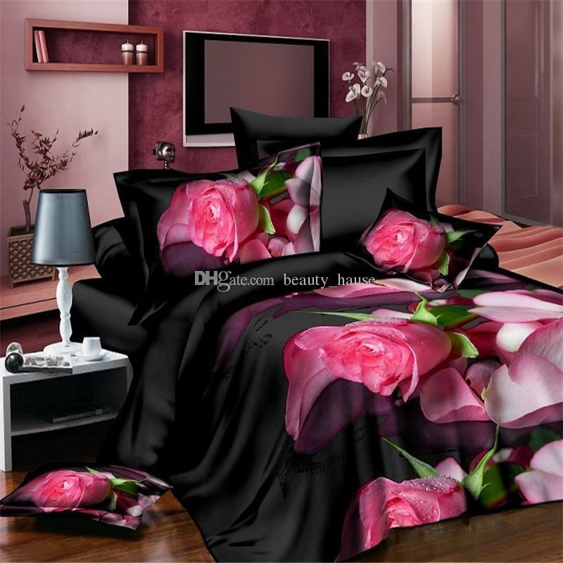Sexy Negro Floral Impreso 4 piezas Juego de cama, Funda Nórdica Sábana Funda de almohada Juego de sábanas, Algodón fresco Ropa de cama de la boda
