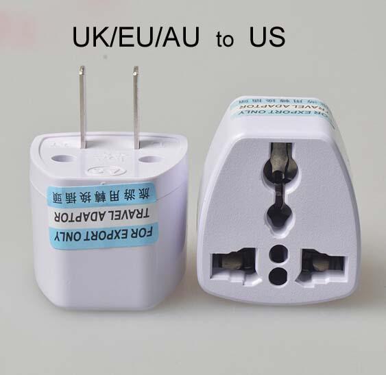 عالية الجودة شاحن السفر ac الطاقة الكهربائية uk / au / eu إلى الولايات المتحدة قابس محول محول usa العالمي قابس الطاقة adaptador موصل (أبيض)