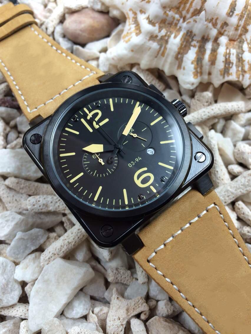 Ograniczona PVD Czarna edycja Mężczyźni Zegarek Sport Quartz Chronograph Sapphire Szkło High Brown Skórzany Pas 03-94 Zegarki Radarowe