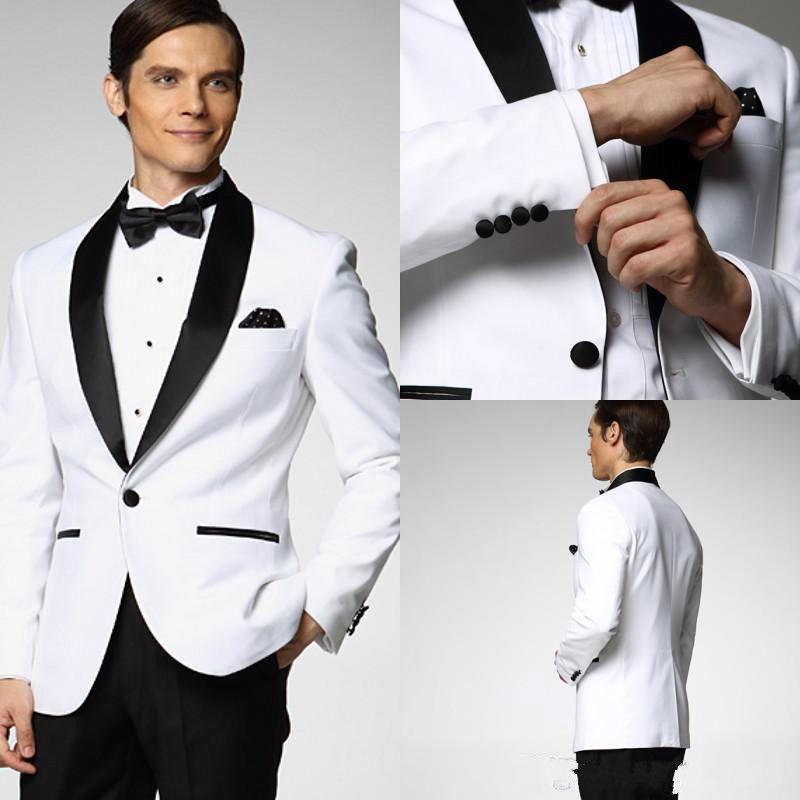 White Jacket Black Satin Lapel Groom Tuxedos Groomsmen Man Suit Wedding suits A02