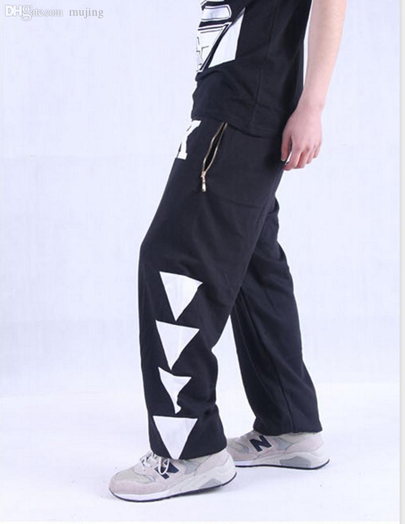 Atacado-Plus Size Mens Algodão Parkour Skate Calças Baggy Sweatpants Hip Hop Slacks Executar Pantalon Jogger Calças Homens Sport Calças