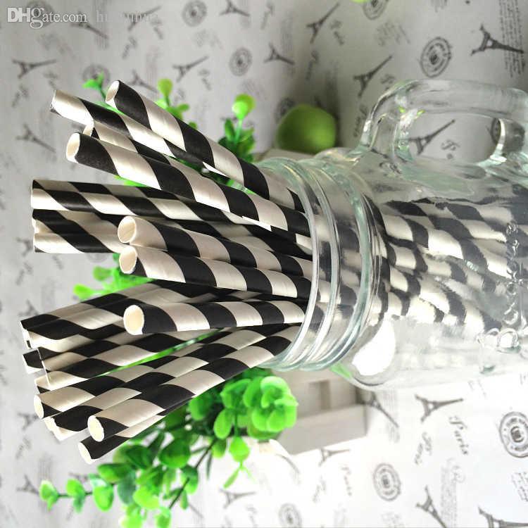 Vente en gros-25 pcs Noir rayé paille de mariage fête de mariage favorités buvant de la paille sreveware Price usine de conception experte de la qualité style