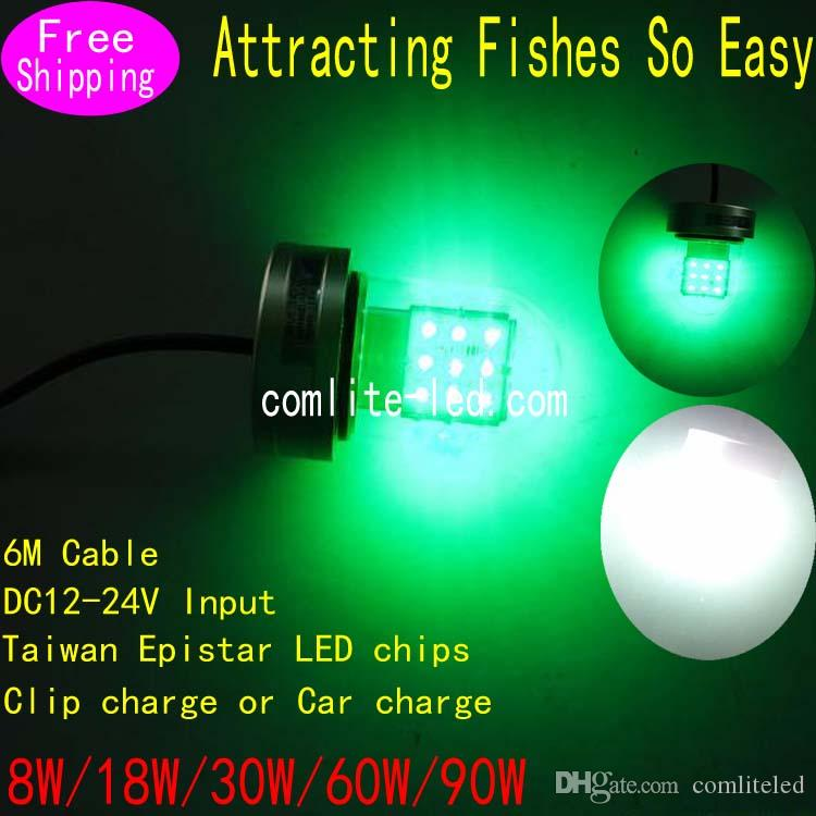 18W Green White Led Underwater Fishing light High Efficiency Safe Voltage PC and PVC Night Fishing Lights LED Dock Fishing Light