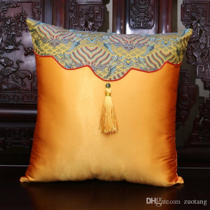 Borla artesanal Patchwork Capa de Almofada Do Vintage Almofadas Decorativas de Natal Sofá Cadeira Lombar Travesseiro Chinês Cetim De Seda Fronha