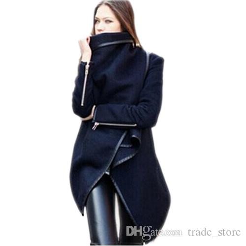 2016 New Winter Long Coats Cape For Women Casual Long Sleeve Plus Size Woolen Jacket trench Coats Overcoat Outerwear Clothing D2