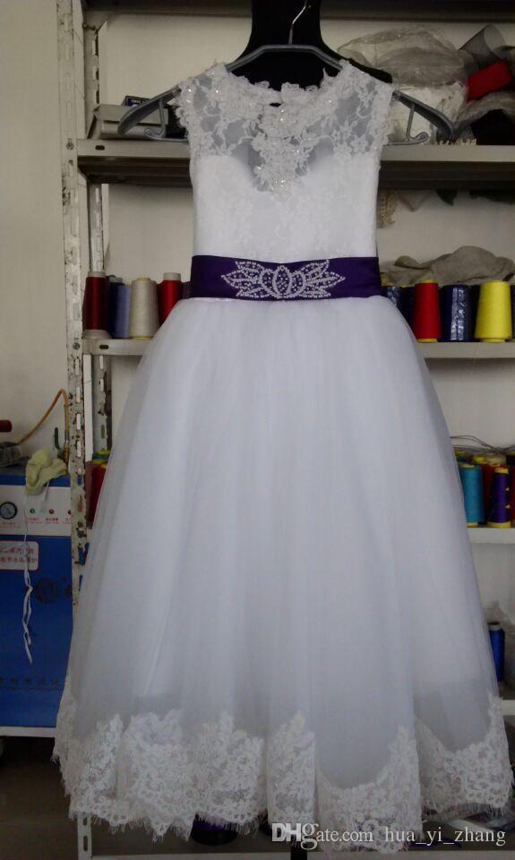 2015 цветочница платья реальные фотографии с замочную скважину обратно и кружева верхней и пышные Принцесса юбка