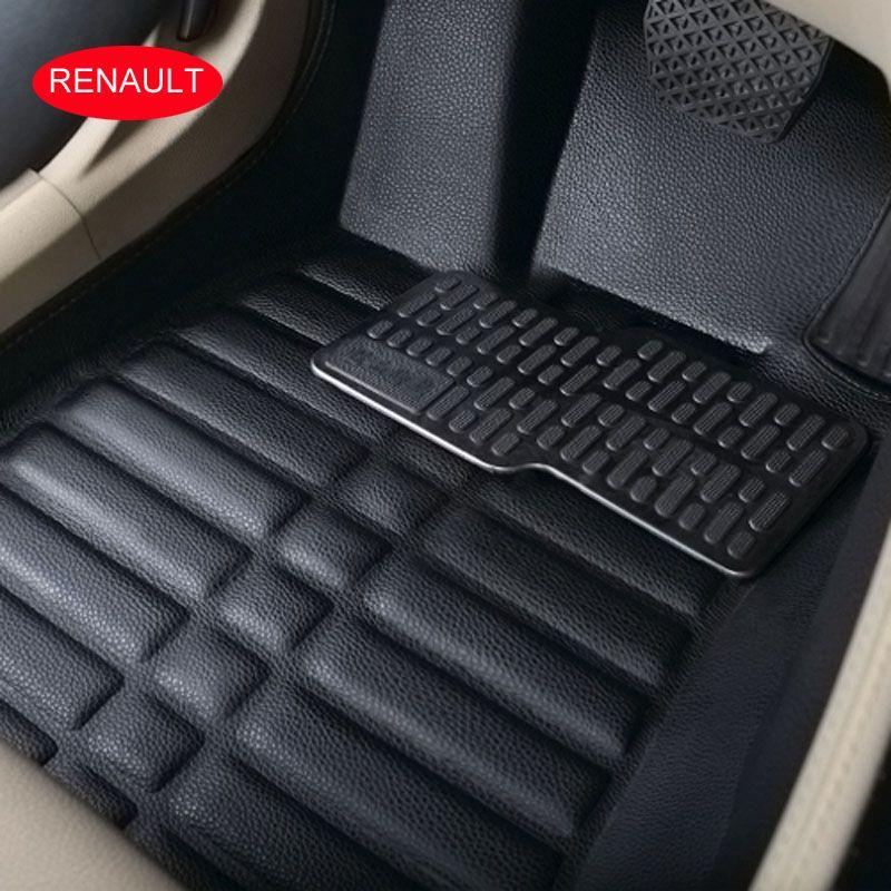 الحصير سيارة السجاد سيارة القدم لرينو كوليوس السجاد سيارة للماء 3D Allrounded الجلود المضادة للانزلاق أسود اللون البيج الرمادي