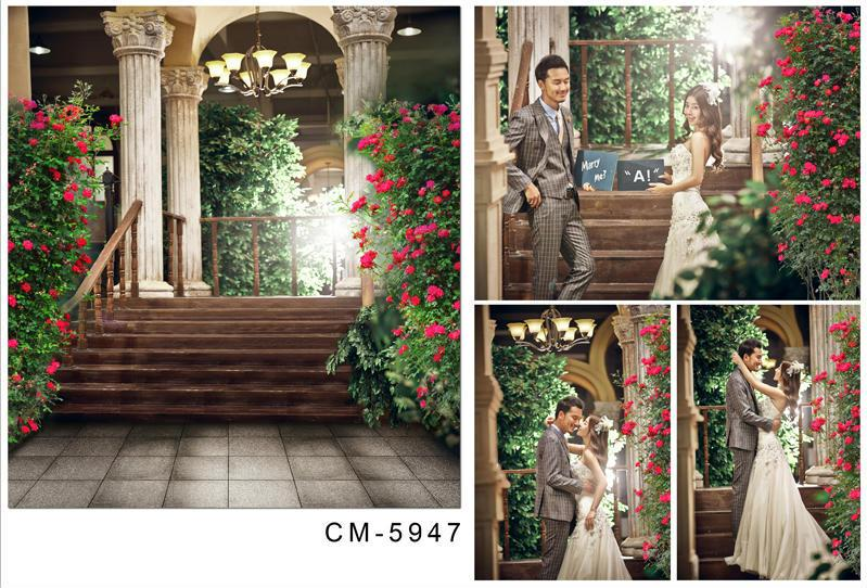 5X7ft Lobby Garden Blossoms For Wedding Backdrop Camera Photos Computer Printed Photography Studio Background Vinyl Backdrops
