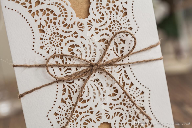 Wedding Invitations Rustic Laser Cut Wedding Invitation Card Flowers ...