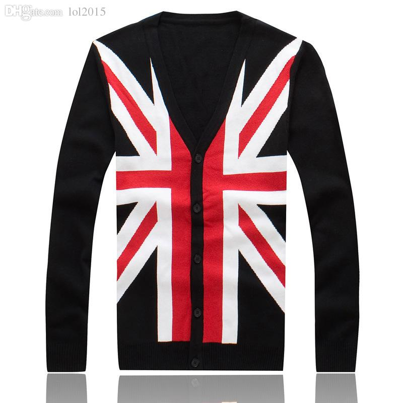 Wholesale-Hot Sale Mens Autumn Winter Clothing British Flag Print The Union Jack V-Neck Black Cardigan For Lover's Gift