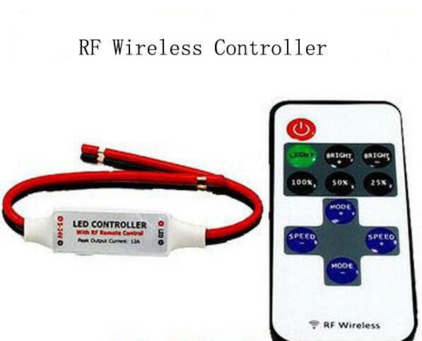 MOQ50 RF Wireless Mini LED Controller 12A for Single Color Strip Light 12V SMD5050 SMD3528 Red Yellow Blue Green Warm white Ribbon CE ROSH