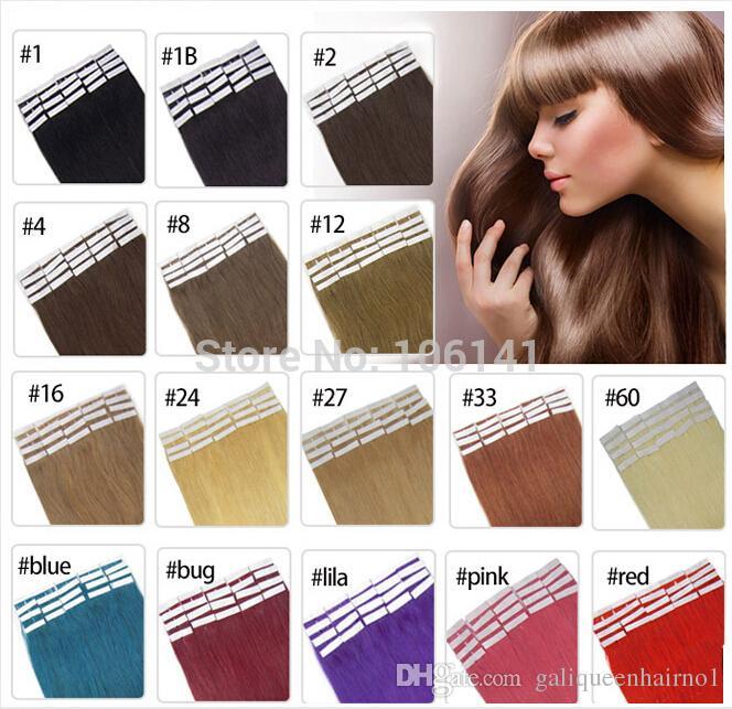 19 Renkler Hint Saç Cilt Atkı Remy Çift Taraflı Bant Insan Saç Uzantıları Üzerinde 20 adet / grup