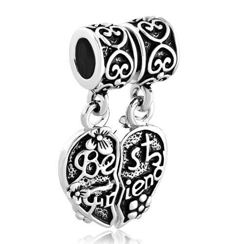 Alliage métallique en fleur de coeur de placage rhodium meilleur ami Dangle Charm fit bracelet Pandora Chamilia Biagi