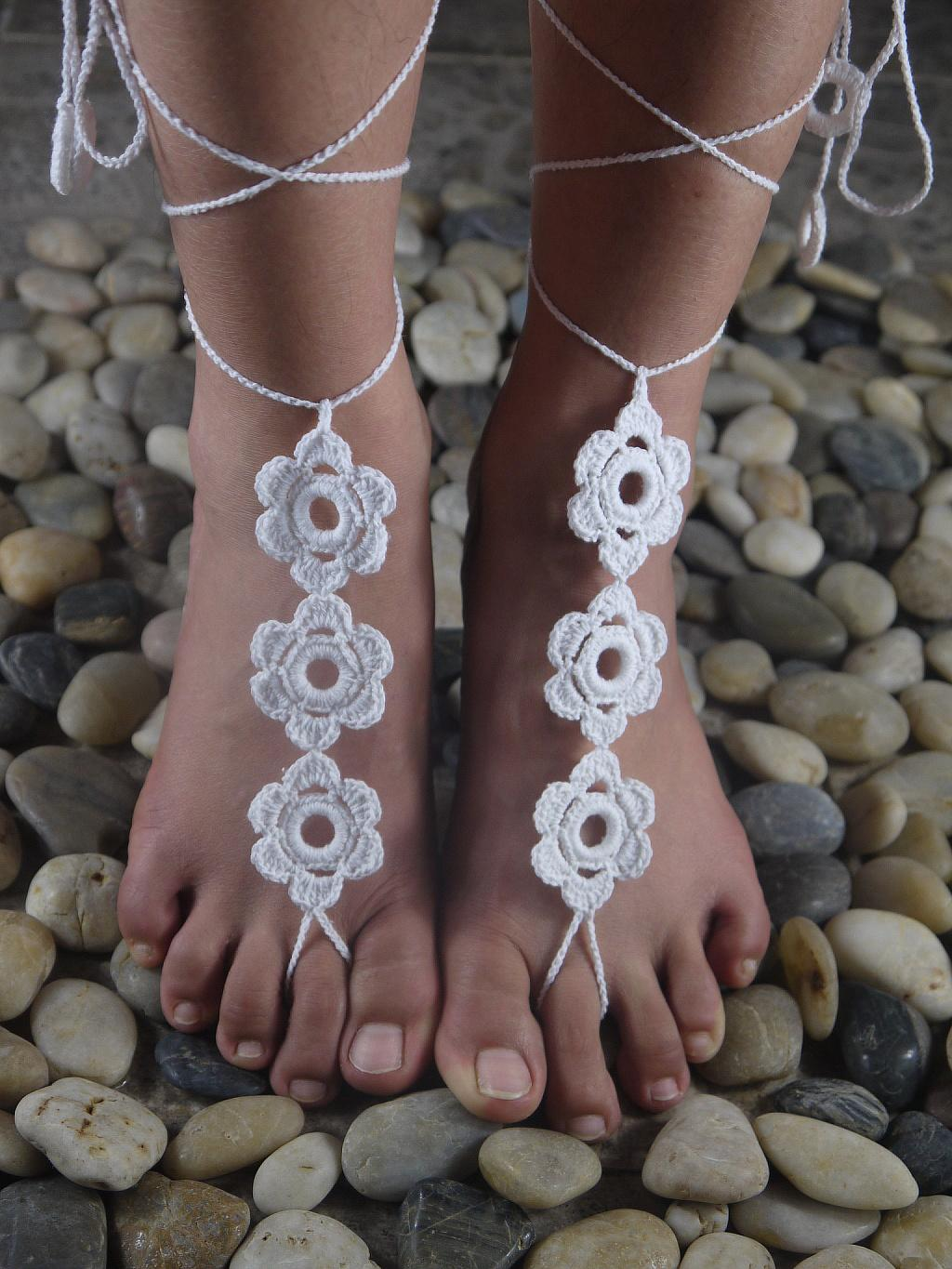 Women Sexy White Shoes,Cotton Crocheted Barefoot Sandals Wedding Applique Shoes, Gypsy Bridal Foo..