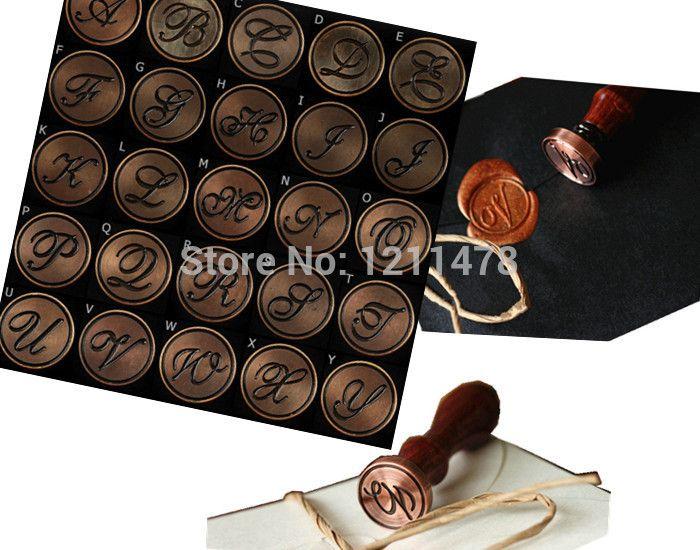 Cadeau personnalisé lettre romaine scellant cire timbre de cuivre tête de timbre de joint en bois vintage alphabet A-Z