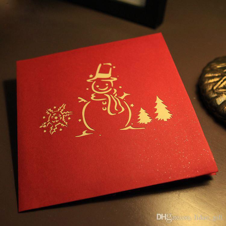 venta al por mayor tarjeta de navidad del rbol de navidad del mueco de nieve d hecho a mano creativo kirigami origami de pop envo gratuito desde