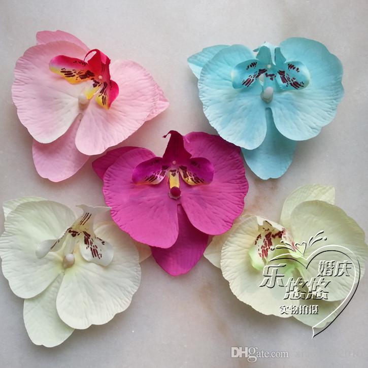Silk Orchid Flower Heads 48st Cute 9 * 10cm Butterfly Phalaenopsis Moth Orchids Kunstmatige Stoffen Bloemen Voor DIY Bruid Boeket Sieraden