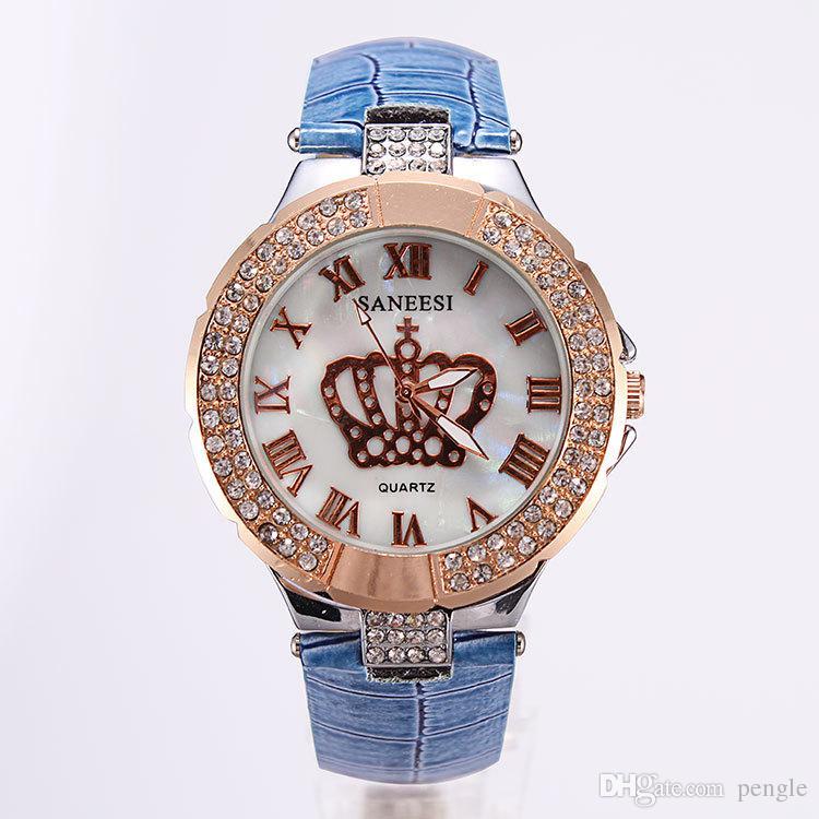 Wholesale新しいファッション高級ワイチクォーツ時計ラインストーンの腕時計カジュアルレザーウォッチストラップの女性100ピース送料無料