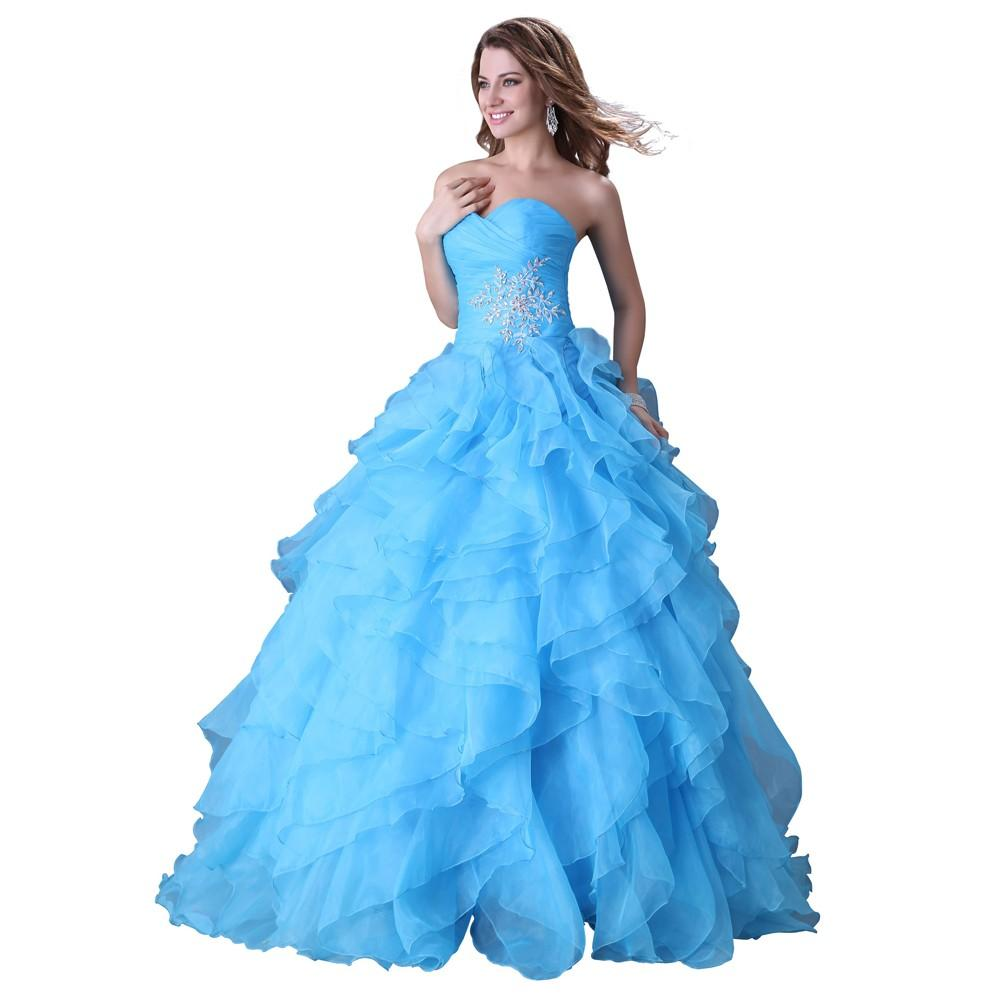 Romantic Ruffle Ball Gowns Blue Wedding Dresses 2016 Sweetheart ...