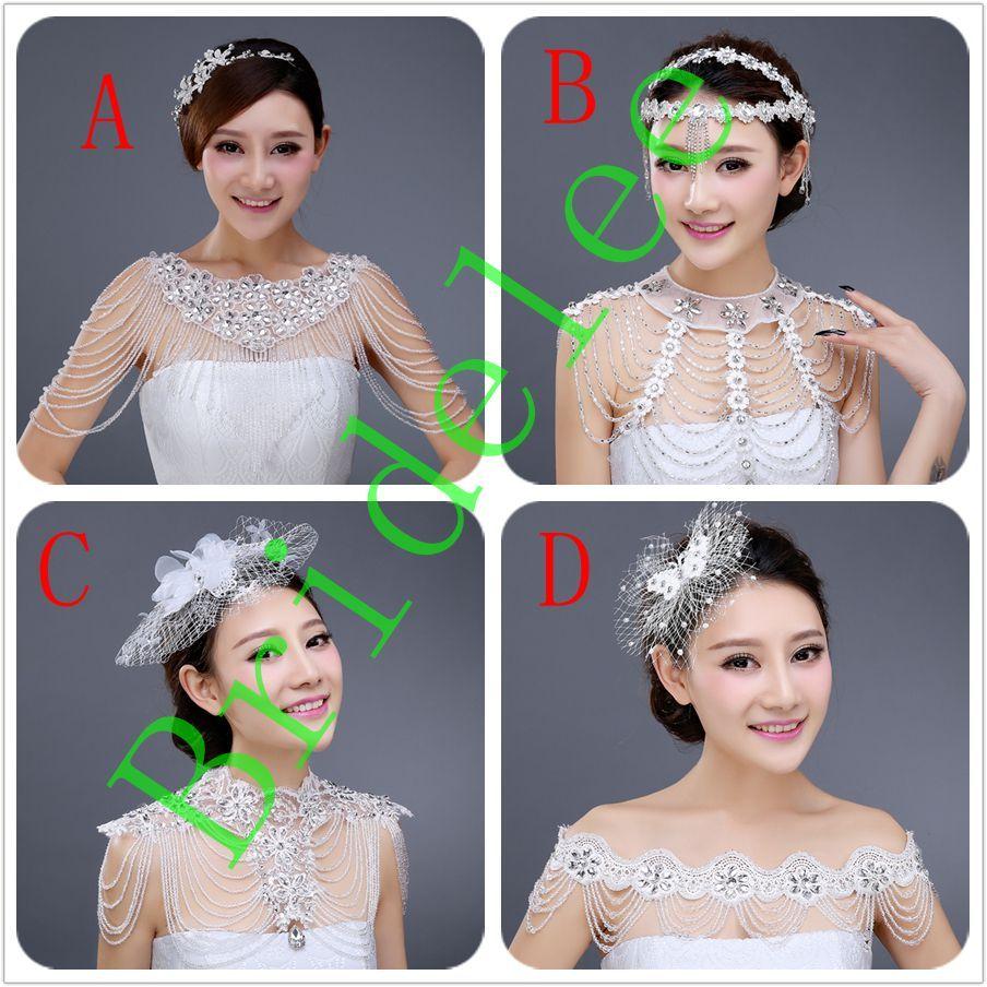 4 Style Luxurious Crystal Rhinestone Jewelry Wedding Bridal Wraps White Lace Wedding Shawl Jacket Wedding Decoration 2020 New Arrivals