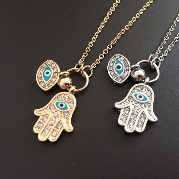 2015 hot necklace pendants the hand of Fatima Turkey's blue eyes necklace min 10pcs gold silver color free shipping