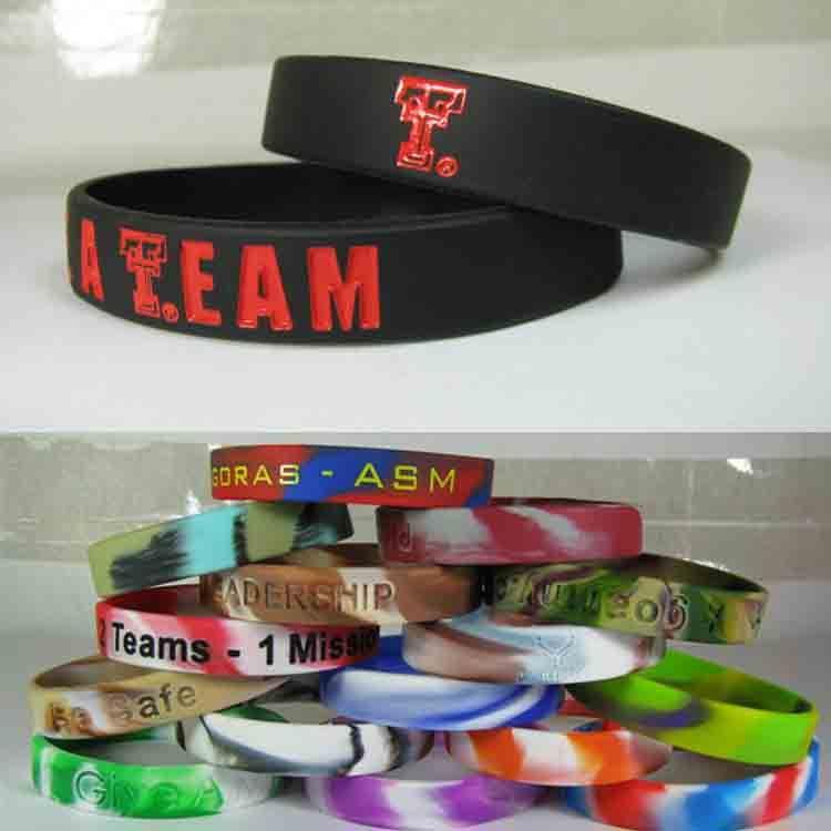 Pulseira de silicone personalizada 12mm largo cor debossed cor preenchida logotipo personalizado pulseira de silicone para presente de promoção