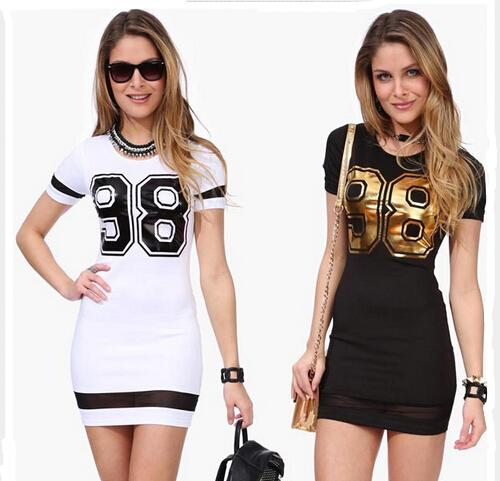 Plus Size Ladies Dresses New 2015 European Fashion Sexy Bodycon dresses Printed Nummber 98 Patchwork Mesh Sexy Club Summer Dresses for Women