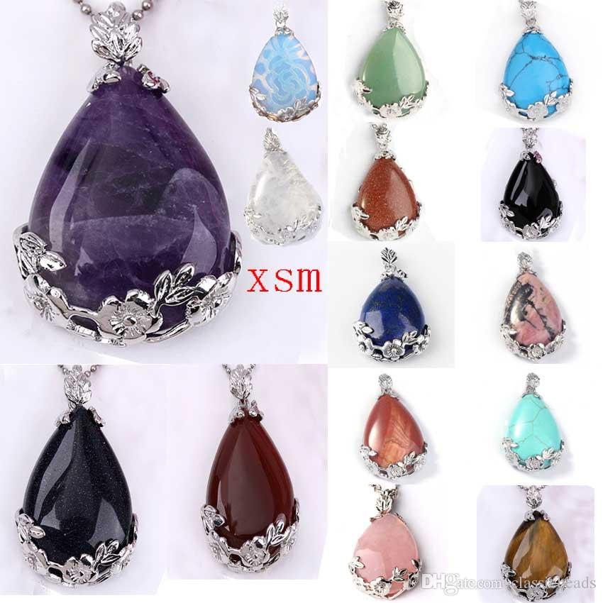 10pc pendentif en forme de larme naturelle bijou fleur floral floral pierre charmes améthyste / opale / quartz rose, pendentif ange de larmes pour les amoureux