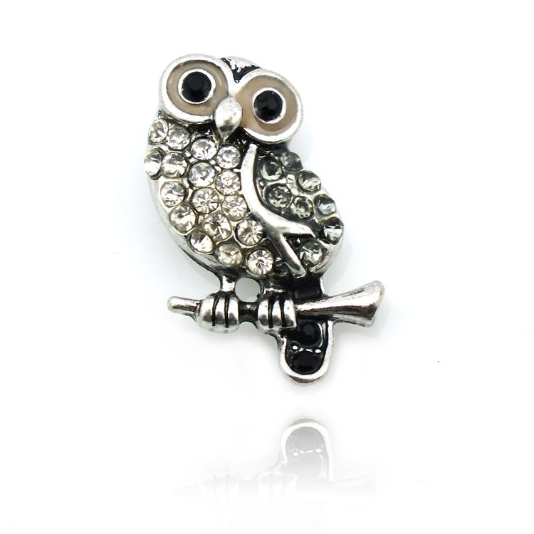 Brand New Fashion 18mm Snap Buttons 2 Color Rhinestone Owl Metal DIY Interchangeable Noosa Button Jewelry Accessories