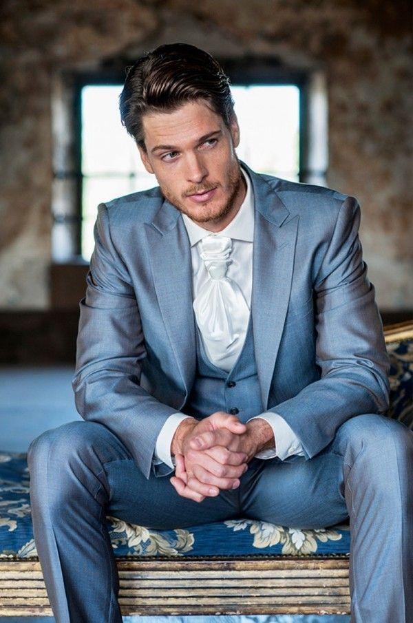 light blue Mens wedding suits 2015 peaked Lapel tuxedos for Men ...