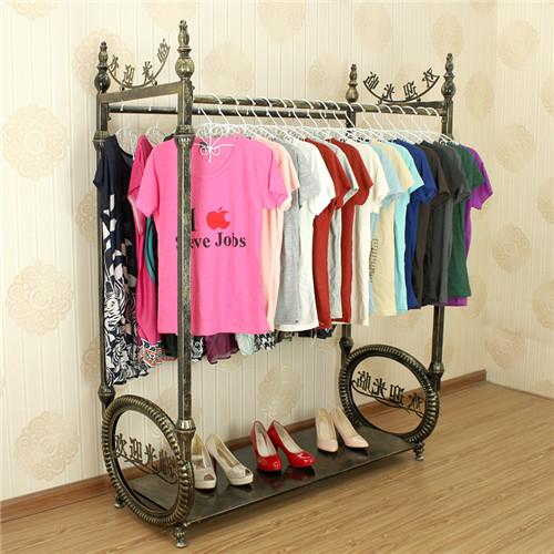 Wrought Iron Clothes Rack Shelf Display Island Ground Double Row